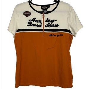 Harley Davidson 1/4 Zip Short Sleeve Tee